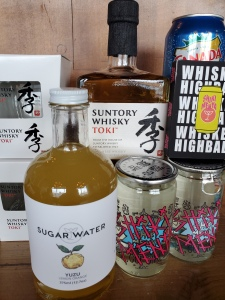 Japanese inspired cocktail kit with yuzu fruit and Suntory Whisky